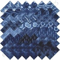 Moda Charm Packs Shibori Charm Pack 42 5 Blue Japanese Asian Quilting Squares on sale