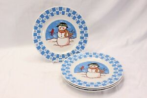 GEI-Snowman-Xmas-Dinner-Plates-10-5-034-Set-of-4