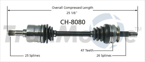 CV Axle Shaft Front Left SurTrack CH-8080
