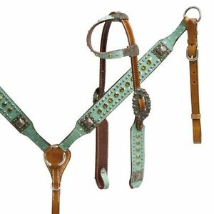 Western Horse Bling Leather Tack set Bridle Headstall w// Reins Breast Collar