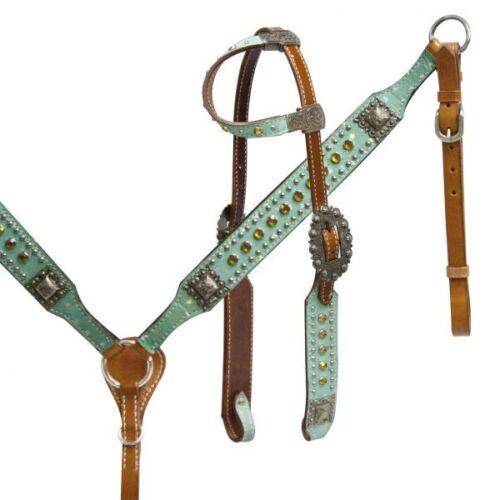 Bride Têtière avec rênes /& Breast collar Leather Tack Set Western Horse Bling