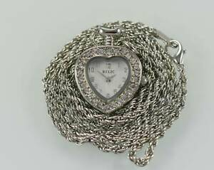 Relic by Fossil Heart Crystals Necklace Silver Stainless Steel WR Quartz Watch
