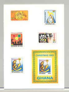 Ghana-852-857-Christmas-4v-amp-1v-S-S-Imperf-Proofs-Mounted-in-Folder
