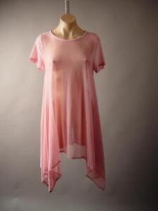 Sheer-Mesh-Light-Pink-Trapeze-Asymmetric-Handkerchief-Hem-Top-250-mv-Tunic-S-M-L
