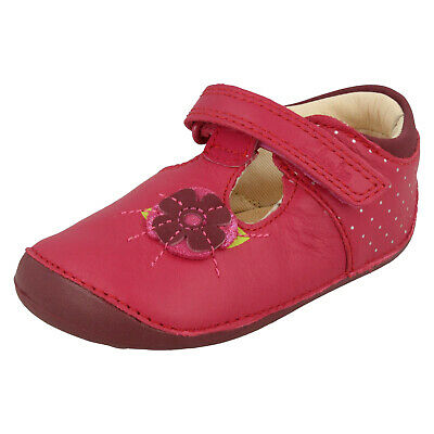 GIRLS TODDLER CLARKS LITTLE POPPY FIRST CASUAL SHOES SUMMER T BAR LEATHER SIZE