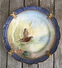 Outstanding Artist Signed Quail Game Bird Plate Antique Porcelain Gorgeous!