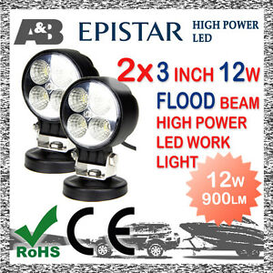 2x-A-amp-B-3-034-12W-4-LED-WORK-LIGHT-FLOOD-OFF-ROAD-LED-WORK-LAMP-9-32V-ROUND