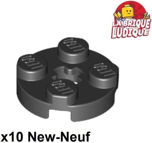 Lego 10x Plate Round plaque ronde axle hole 2x2 noir//black 4032 NEUF