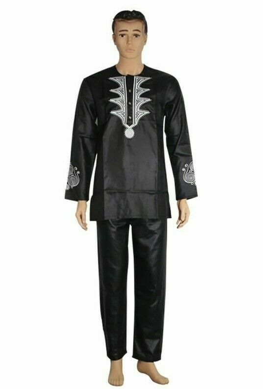 New Elegant Clothes Dress For Men's Two Pieces Suits Dashiki Shirt With Trousers