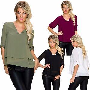 Damen-Shirt-Bluse-Tunika-Top-Turn-up-Armeln-Nadel-S-34-36-Party-Buero-Longsleeve