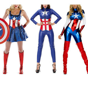 Adult costume the avengers captain america fancy dress cosplay women superhero ebay - Costume de super heros ...
