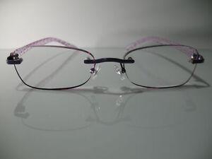 3da70fe54709 Image is loading Foster-Grant-Daniella-Purple-Rimless-Womens-Reading-Glasses -