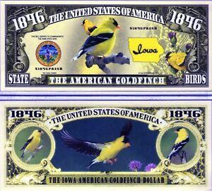 The American Goldfinch Iowa State Bird 1846 Novelty Money Ebay