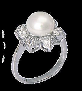 anello pandora con perla e fiore
