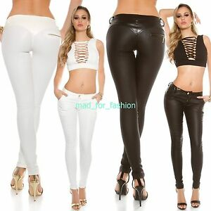 SEXY-KOUCLA-Piel-Sintetica-Pantalones-GB-8-10-12-14-EU-36-38-40-42
