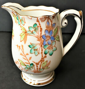 Antique-English-Fine-Bone-China-PICTA-Hand-Painted-Gold-Trim-3-1-2-034-Creamer