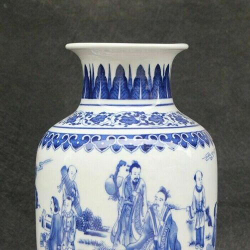 Details about  /Chinese old porcelain Blue and white Figure Painting vase