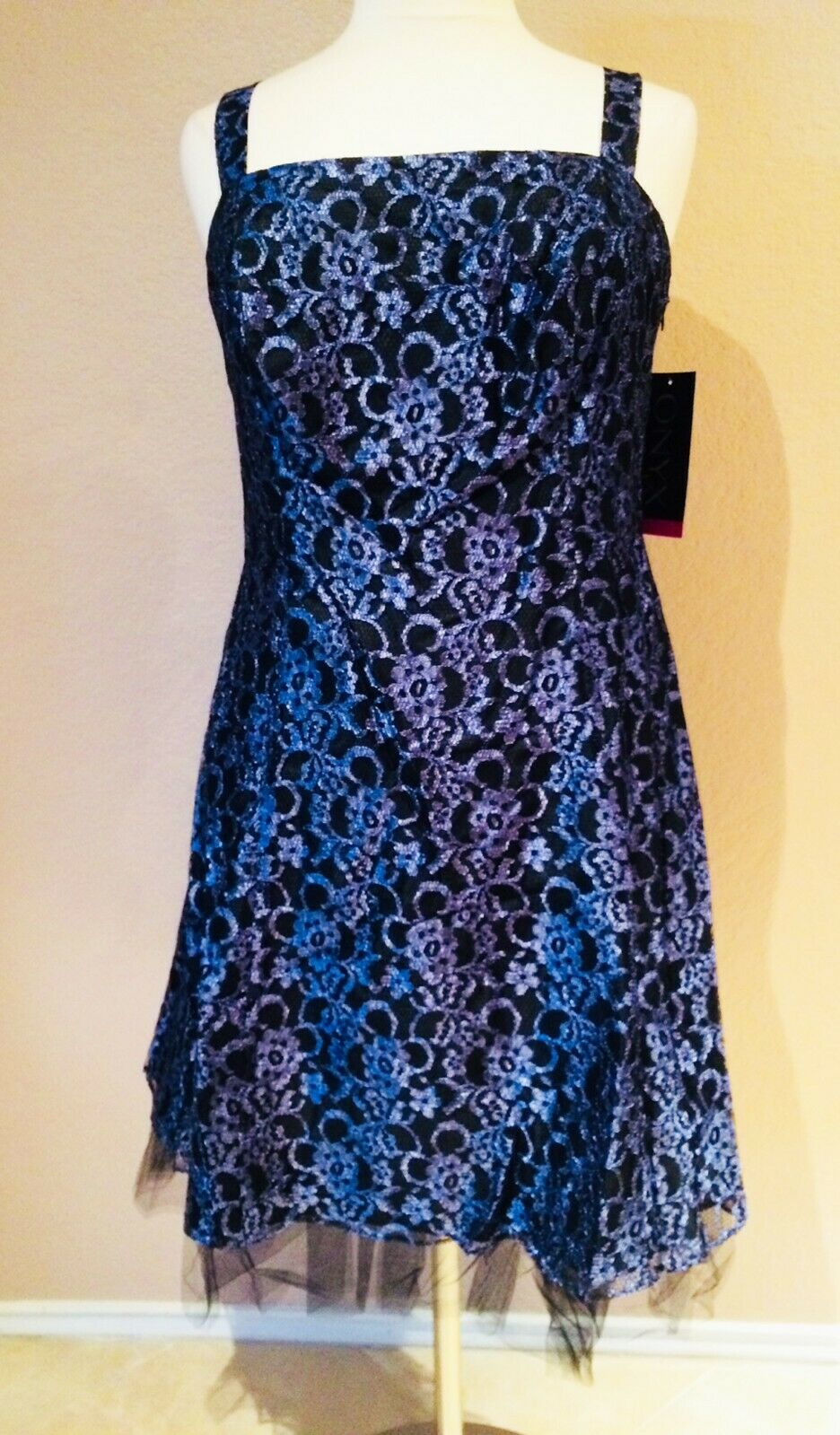 Formal Short Prom Party Dress Onyx Nite Floral Lace Fit & Flare A-Line 18W 20W