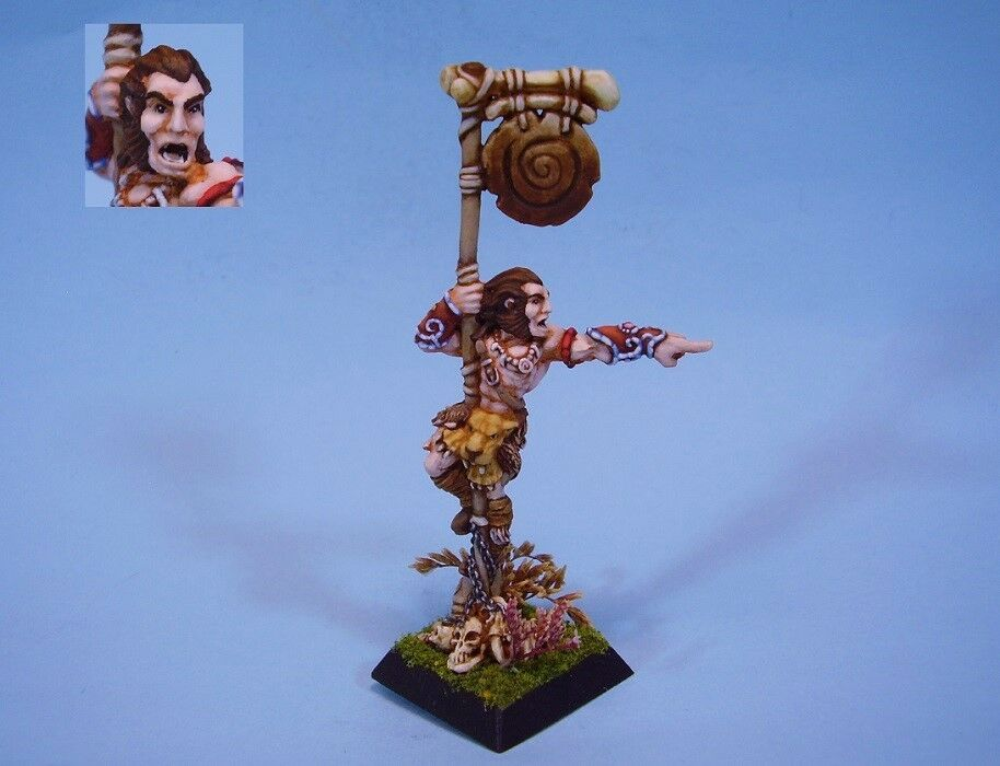 Confrontation painted miniature Barbarian Barbarian Barbarian Standard Bearer bf803d