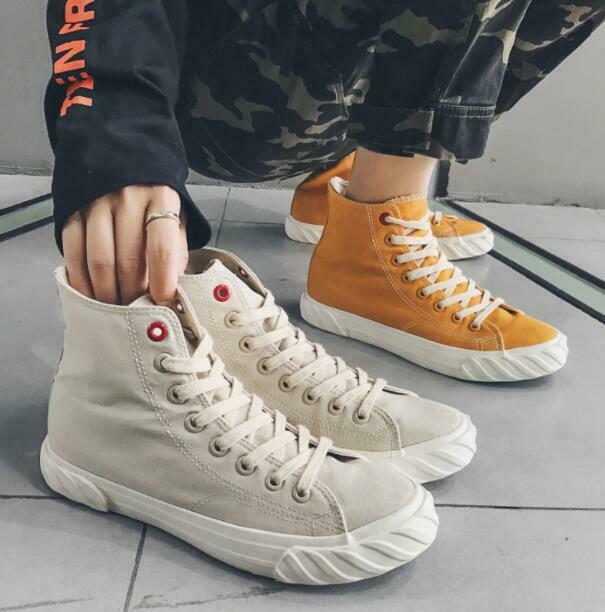 High Top Men's Canvas shoes Breathable Korean Style Lace Up White shoes Fashion