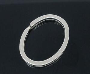 2 Oval key rings 36 x 28mm silver tone