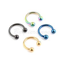 "4pc 14G 3/8"" Titanium Anodized 316L Steel Horseshoe Circular Barbell Ears Nipple"