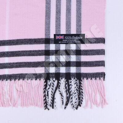 Men/'s 100/% CASHMERE Scarf White Big Plaid Vintage Stripe Design Super Soft Wool