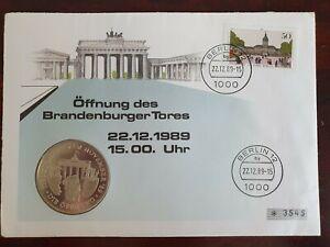 Numisbrief-BRD-Offnung-des-Brandenburger-Tor-1989-Medaille-PP-Sammler-Worbes