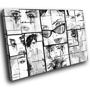 AB866 Black White Cool Funky Modern Abstract Canvas Wall Art Large Picture Print