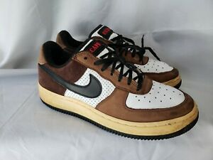 2005-NIKE-AIR-FORCE-1-LOW-ESCAPE-312489-101-MENS-SHOES-SZ-9-5-BROWN-WHITE-RED