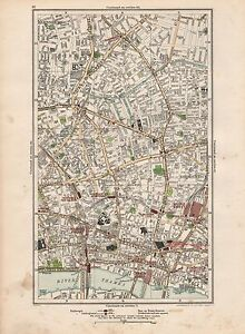 1923 London Street Map Shoreditch Hoxton Clerkenwell Barnsbury