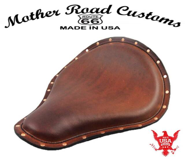 """12X13x1""""  Brown Leather Copepr Rivets Harley Chopper Sportster Spring Solo Seat"""