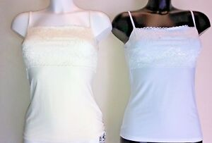 LADIES-LACE-TRIM-CAMISOLE-TOP-VEST-SLIP-WHITE-IVORY-10-22