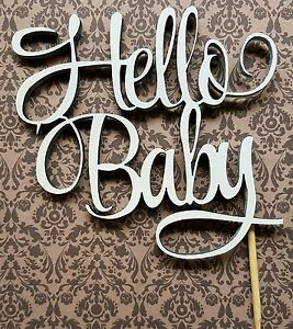 034-Hello-Baby-034-cake-topper-hand-made-WOODEN
