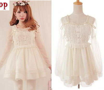 Japan Girls Princess Dolly Lolita Kawaii Party Wedding Lace Chiffon Dress White