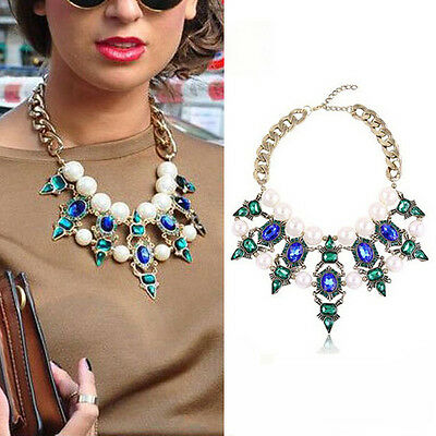Green Pearl Bib Necklace Flower Chunky Statement Crystal Pendant Collar Chain