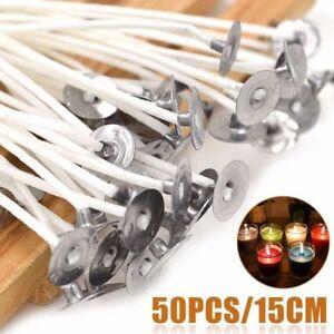 50-Pcs-15cm-Kerze-Dochte-Baumwolle-Kern-gewachst-Docht-mit-Metall-Erhalter-DIY