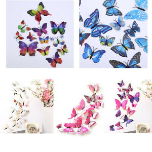 12pcs-3D-Schmetterling-Aufkleber-Dual-Wandaufkleber-Wandtattoo-Deko-Wandsticker