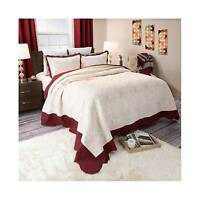 Juliette Paisley Embroidered Quilt Set (full/queen) Deep Red 3pc - Yorkshire ... on sale