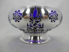 wunderschöne Art Deco Schale  Jean Beck München mit Silver Overlay D: 16 cm