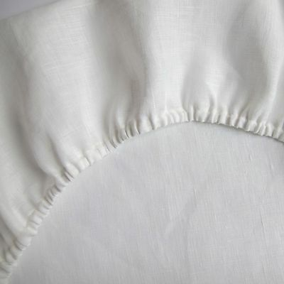 "Fitted Linen Sheet Pure Flax 100% White USA Queen King California Sizes 18"" deep"