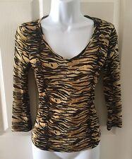 GUESS Sheer  Leopard Animal Print Blouse Top Shirt Size Medium M 3/4 Sleeves