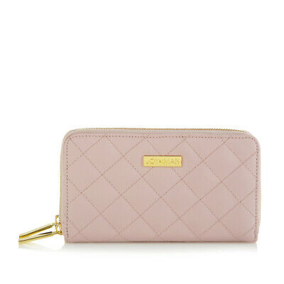 JOY /& IMAN RFID Smooth Leather Double Wallet with RFID-Blocking Technology Blush