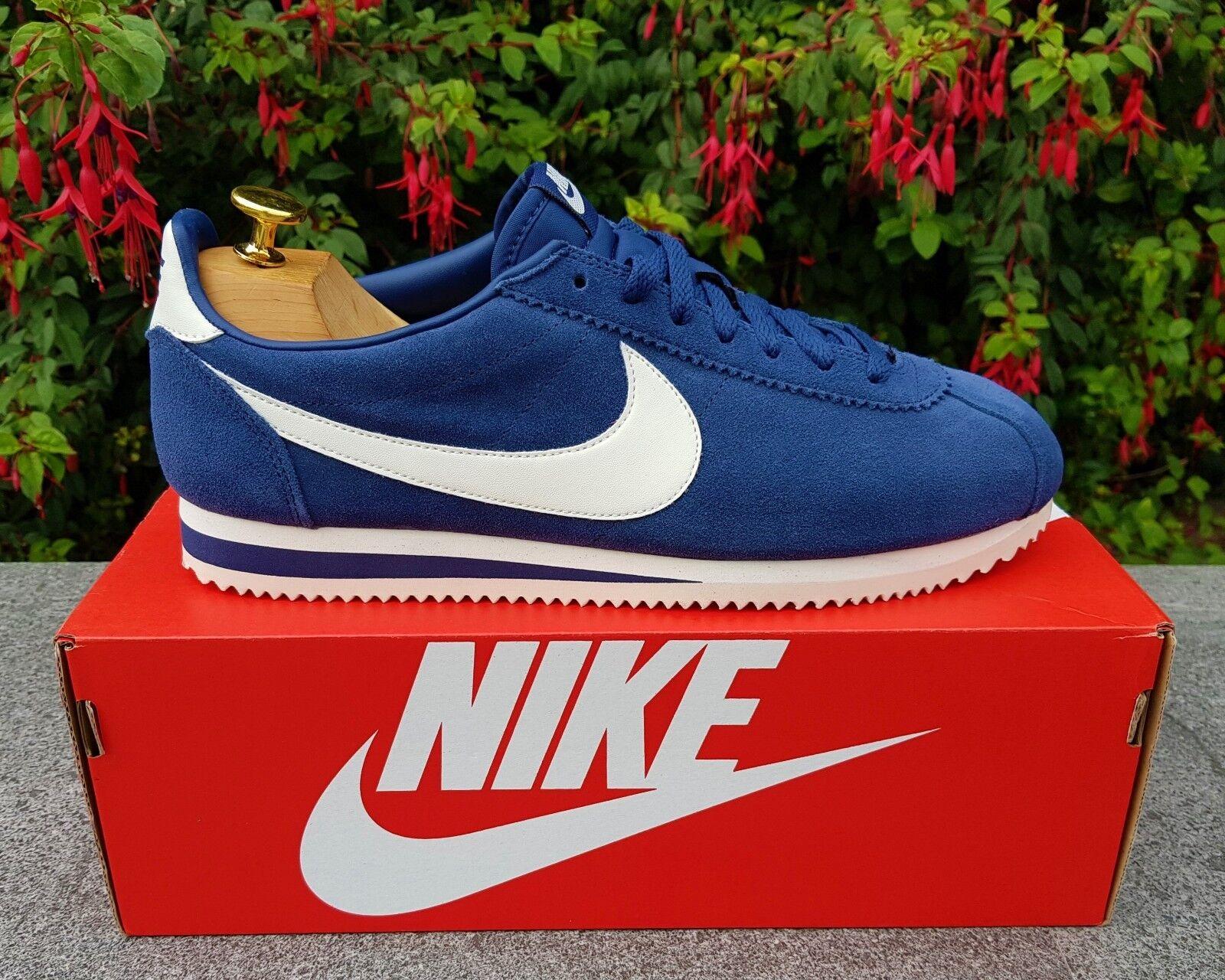 BNWB & Authentic Nike ® Classic Cortez SE Suede Navy & Sail Trainers UK