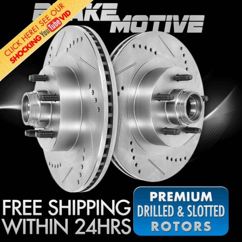 Front Drill Slot Brake Rotors For 1994-2000 2001 2002 2003 Ford E150 E-150