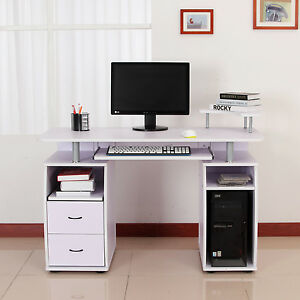 Homcom Computer Desk Study Table Pc Desktop W Monitor