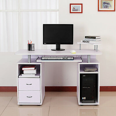 Computer Desk PC Table Workstation Monitor & Printer Shelf Home Office Furniture