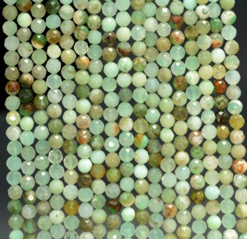 """3MM LIGHT GREEN CHRYSOPHARE GEMSTONE MICRO FACETED ROUND LOOSE BEADS 15.5/"""""""