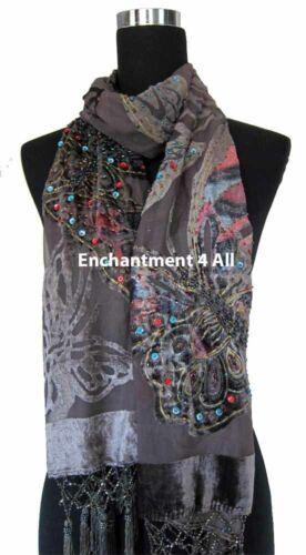 Handmade Beaded Butterfly 100/% Silk Velvet Scarf Shawl Gray