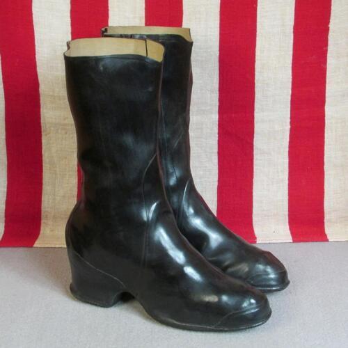 Vintage 1930s BF Goodrich Rain Boots Galoshes Blac